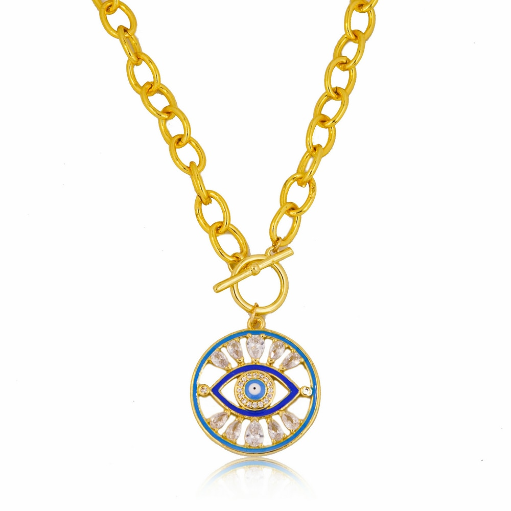 Micro Pave Eye of The Demon Necklace for Women Gold Chain Multicolor  Zircon Pendant Necklace Wholes