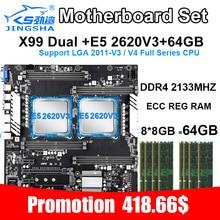 JINGSHA X99 doble placa base con 2 uds XEON E5 2620V3 seis-core y 8*8gb ddr4 2133mhze ecc reg ram