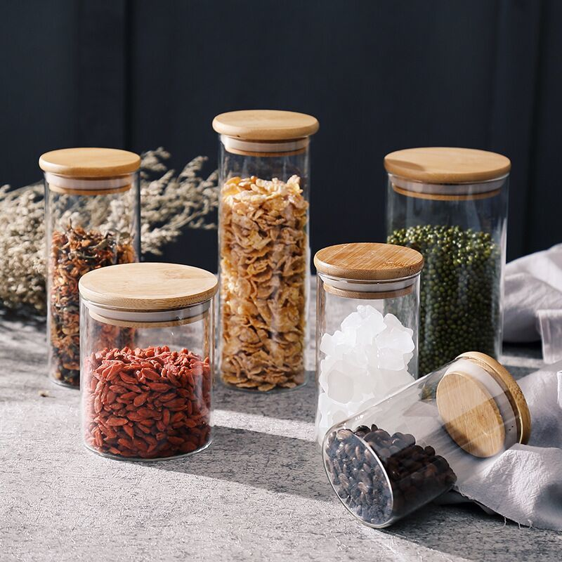 Tarro de masón con tapas de bambú, dispensador de cereales, botellas de almacenamiento, contenedores de vidrio de alta capacidad para alimentos, especias, hogar, frasco de vidrio con dulces