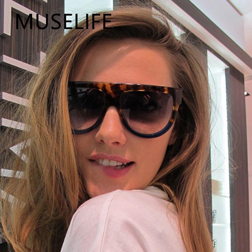 MUSELIFE Sunglasses Woman Vintage Retro Flat Top Gradient Shield Black Sun Glasses Luxury Designer O