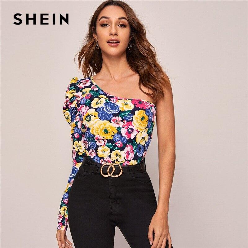 SHEIN Multicolor un hombro Gigot manga Floral estampado superior mujeres Primavera Verano ajustado noche fuera camisetas