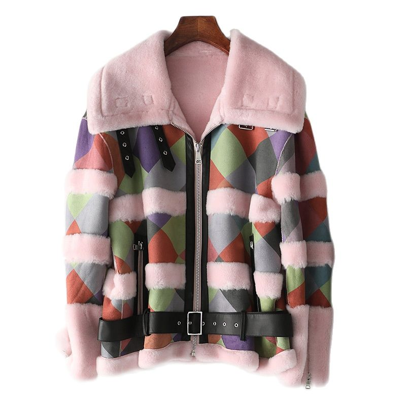 Haining 2021 new autumn  winter new lamb fur coat shearling coat woman fur coats winter fur cropped jacket bomber jacket women