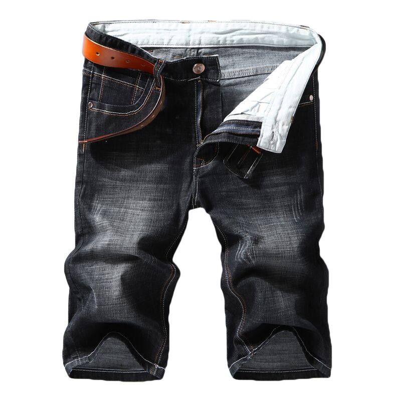 Men Denim Shorts 2020 Summer New Style Thin Section Elastic Force Slim Fit Short Jeans Male Brand Clothing Black Blue