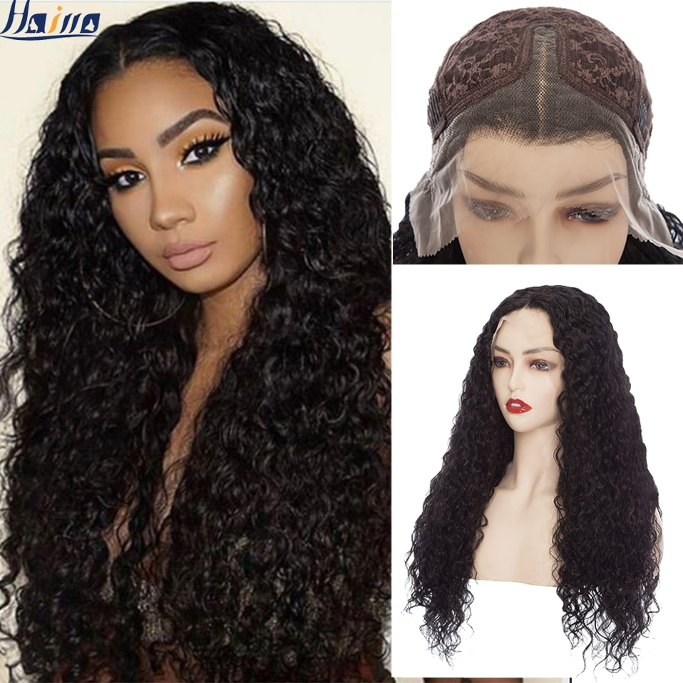 HAIRRO Deep Wave Frontal Wig Transparent Lace Wigs Long Curly Black Synthetic Wigs For Women T Part Brazilian Baby Hair Wig