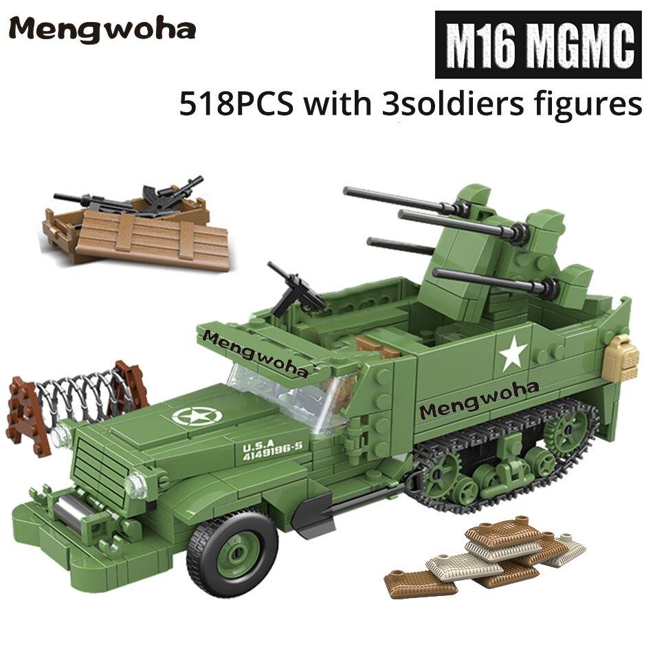 Ww2 militar m16 mgmc meia pista veículo blocos de construção americano com três soldados figuras tijolos do exército brinquedos