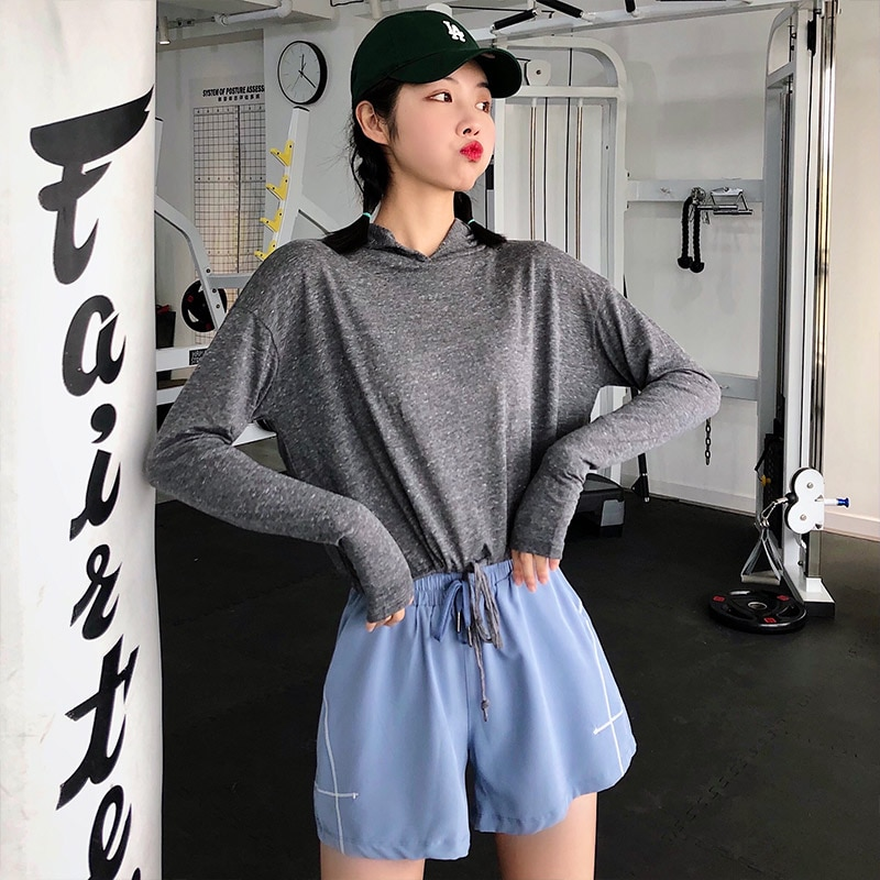 Annerun Hooded T-shirt Women's Short Navel Sports Blouse Long Sleeve Casual Running Fitness Clothes