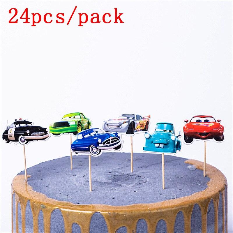 24pcs Disney Cars Cartoon Cake Topper Lightning Mcqueen Birthday Happy Party Supplies Decorations
