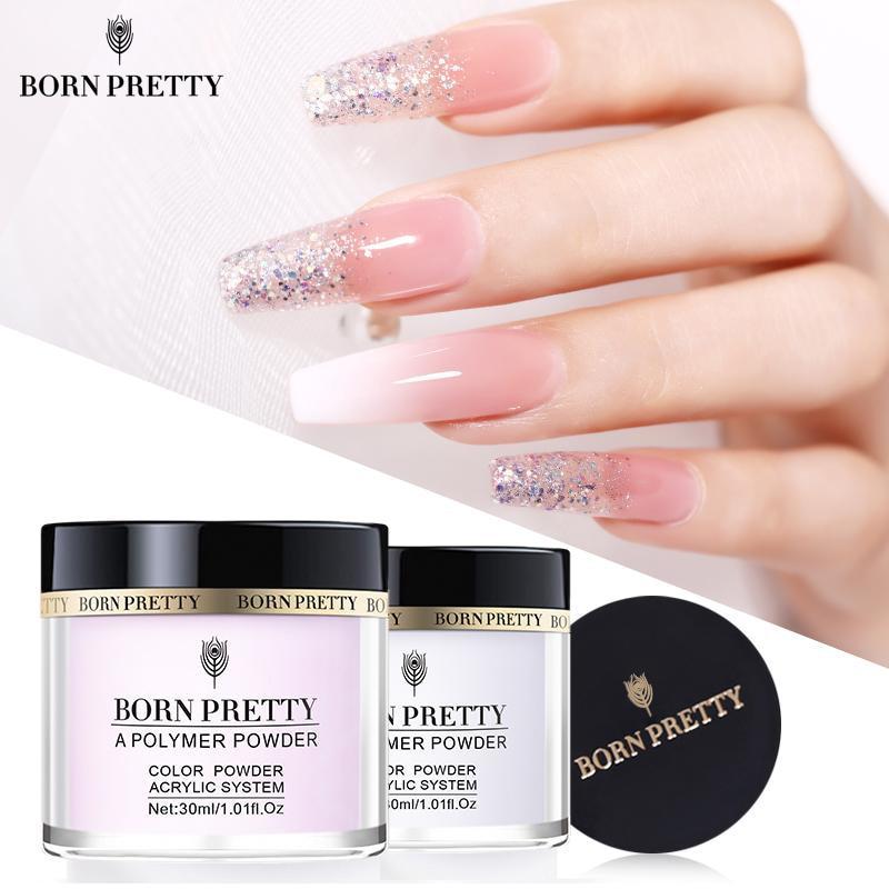 aliexpress - BORN PRETTY 30ml/10ml Acrylic Powder Carving Nail Polymer Tip Extension French Pink White Clear Adhesive Rhinestone Nail Art