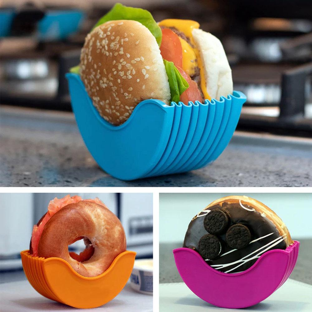 [해외] 버거 버디 버거 고정 박스 샌드위치 보관 햄버거 실리콘 선반 햄버거 홀더 박스 No touch 재사용 가능한 주방 도구