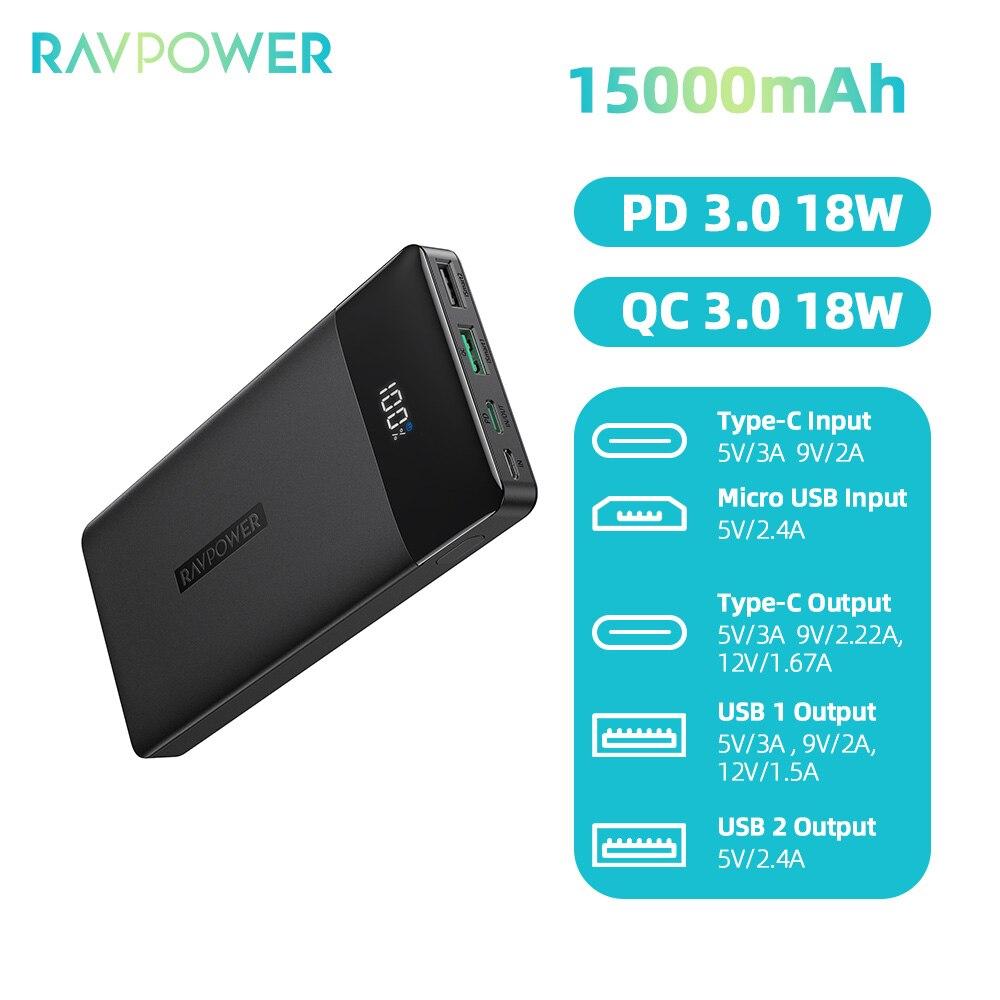 RAVPower 15000mAh USB-C PD 18W + QC3.0