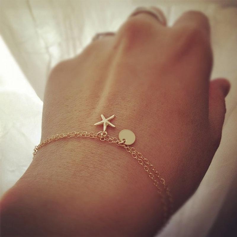 Charms Bracelets for Womens Starfish Bracelet Multilayer Girl Rose Gold Color Fashion Jewelry Wholesale Bulk Pulseras