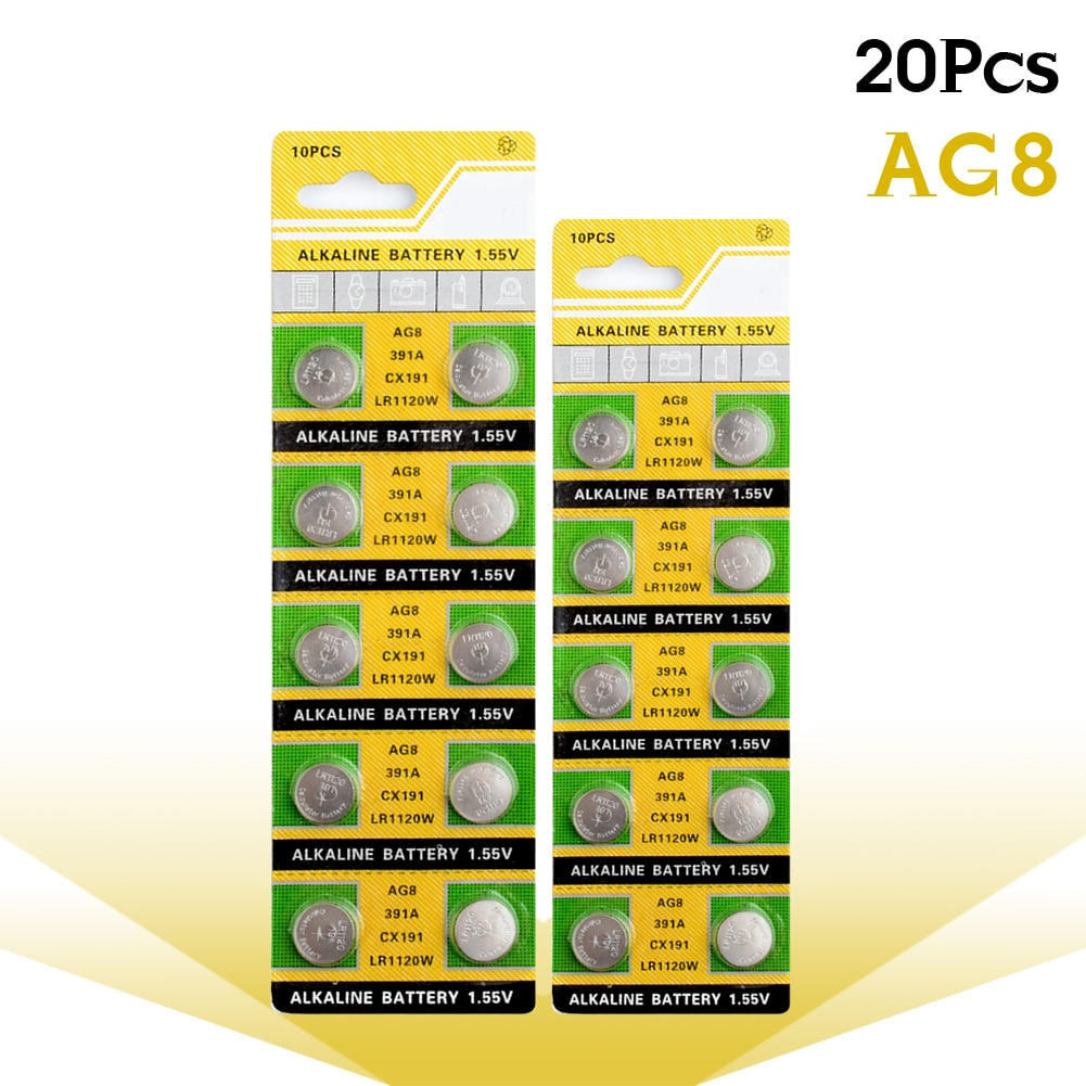 YCDC 20 шт 1,55 v LR1120 LR 1120 Ag8 часы Pilas AG 8 SR1120W SR1120SW SR1121 GP391 Кнопка монета элемент дистанционного управления игрушки батарея