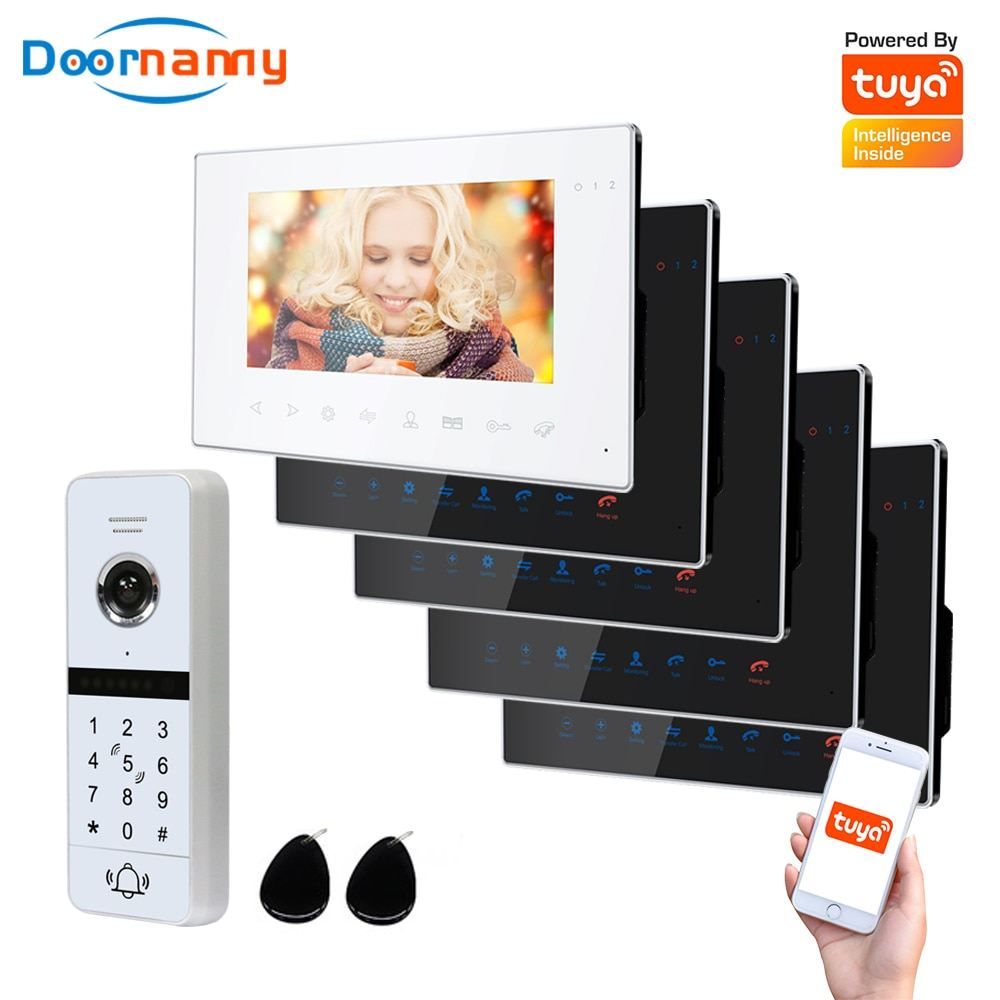 Doornanny WiFi Video Intercom Kit Villa Apartment System 1Doorbell 5Home Doorphone Video Call AHD 960P Tuya APP Remote Unlock