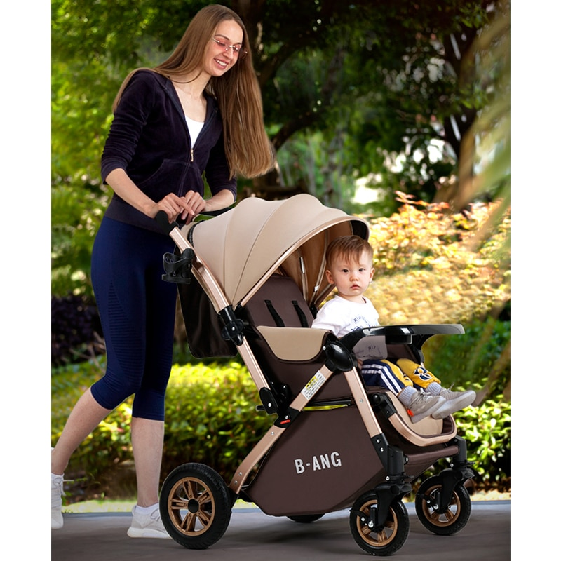 Stroller Lightweight, Foldable, Sitting and Lying Baby Sleeping Basket, Four-wheeled Shock Absorbing Child Two-way Stroller One enlarge