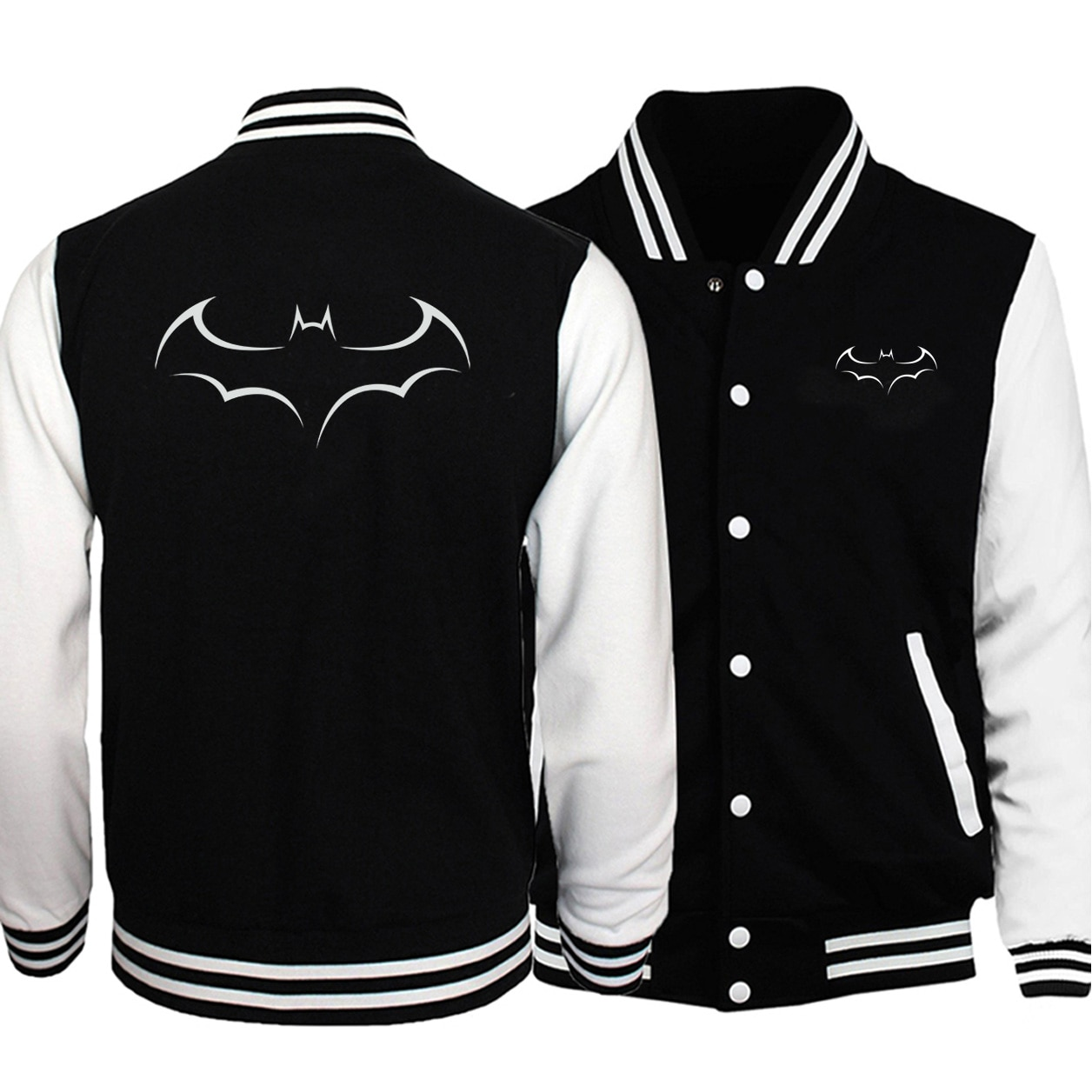 Fashion Streetwear Double-side print baseball jackets Men uniform big size fleece sweatshirt fall winter long-sleeved Jackets