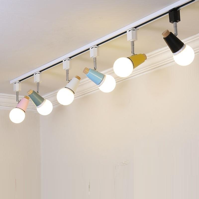 Modern led track lamp colourful 2 way adjustable rail spotlights track lighting fixture 120v light bar showroom clothing store