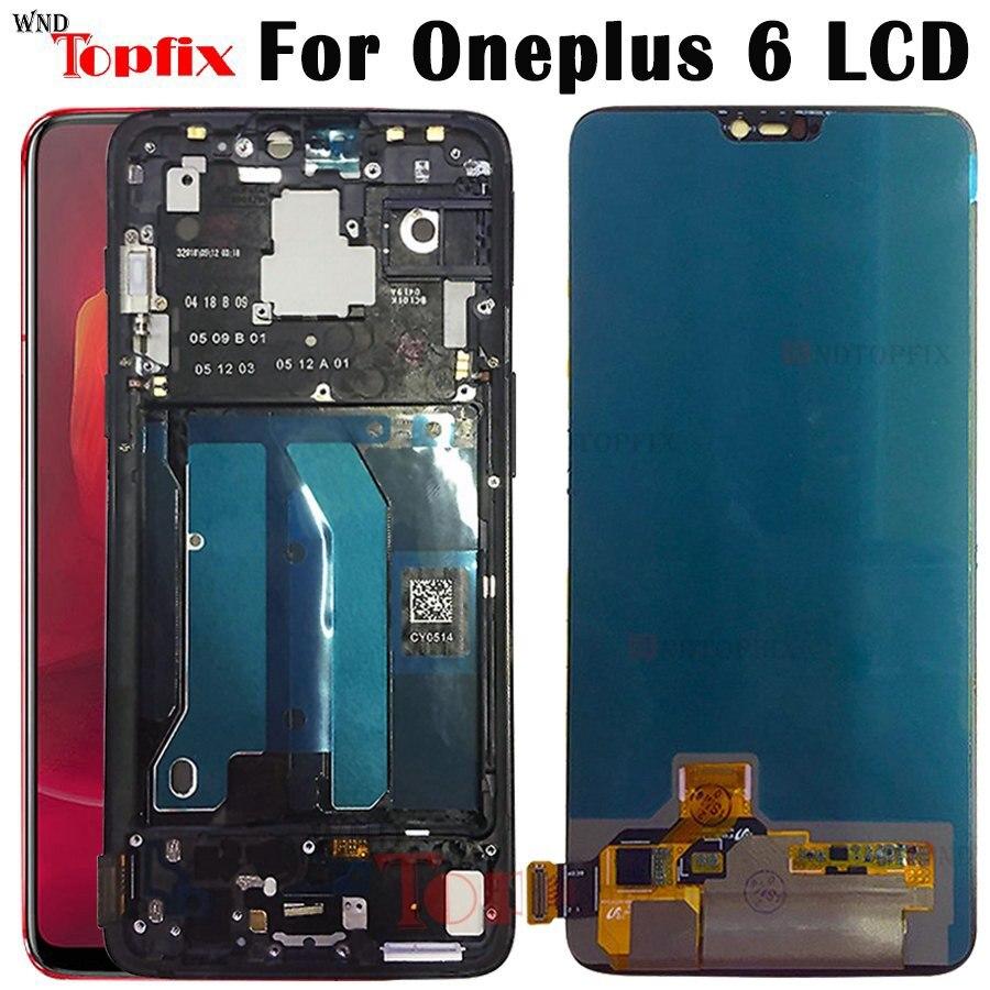 Nuevo Original para Oneplus 6 pantalla LCD Digitalizador de pantalla táctil con marco reemplazo del ensamblaje del Panel para oneplus 6