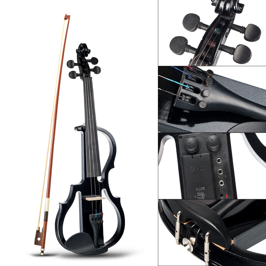 NAOMI 4/4 Black Electric Violin Kit Full Size Electronic Violin w/Brazilwood Bow Rosin Headphone Audio Cable Case Student Violin enlarge