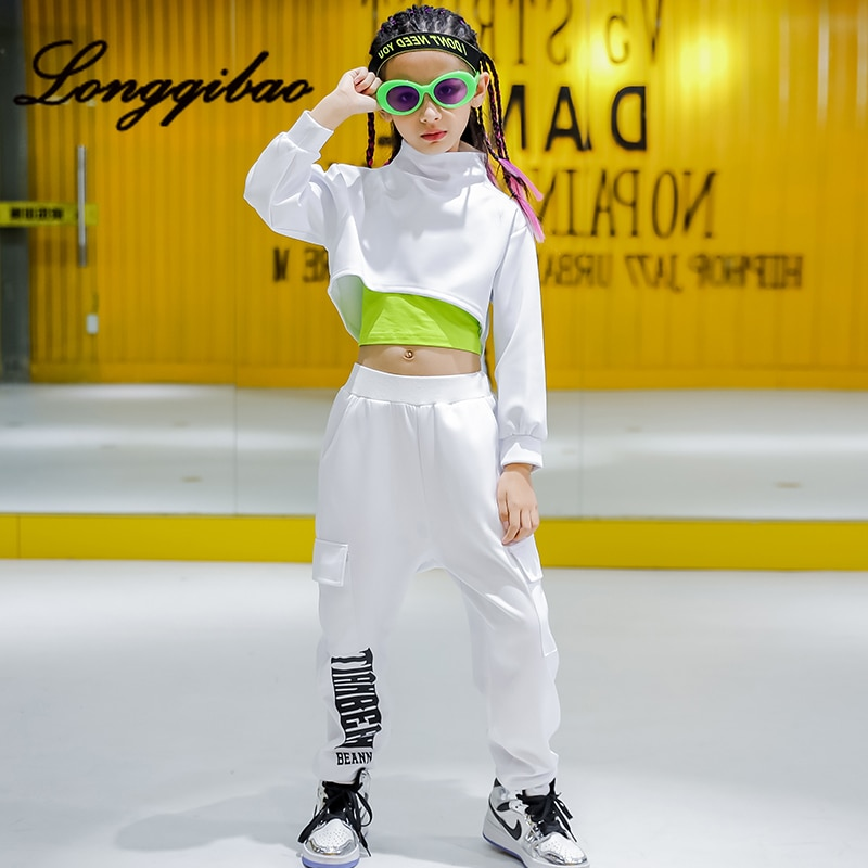 Kinder jazz dance kostüme kinder mädchen hip-hop dance hip-hop dance kleidung ausgesetzt nabel anzüge flut kleidung kostüme