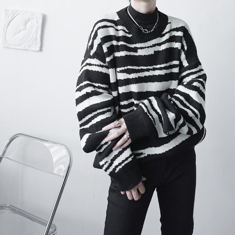 Полосатый свитер, мужской теплый модный вязаный пуловер оверсайз, мужской Корейский свободный свитер с длинным рукавом, мужской джемпер, же...