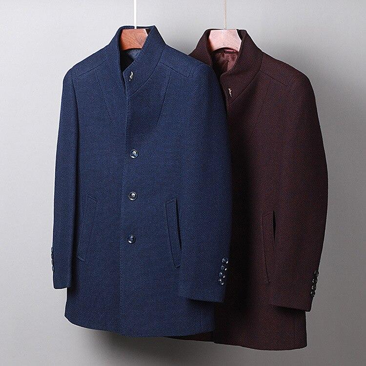 خريف شتاء موضة ملابس للرجال ، الرجال الوقوف طوق البحرية القهوة معطف الصوف ، معطف صوف للرجل