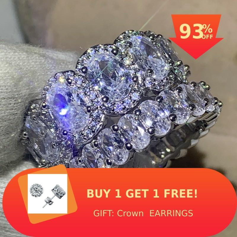 Meilleure vente de haute qualité bijoux de luxe 925 en argent Sterling ovale coupe blanc AAAAA cubique Zircon promesse femmes bague de mariage ensemble