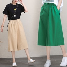 Cotton Linen Capri Pants Female Summer Artistic Retro High-waisted Slimming and Straight Casual Pant
