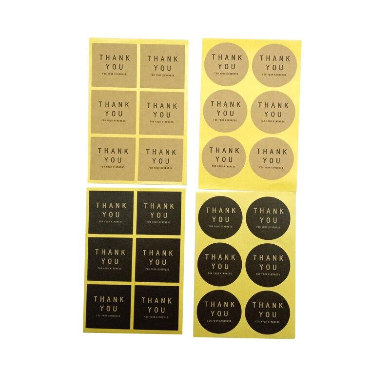 600 шт./лот, три дизайна с круглыми и квадратными, спасибо, упаковка наклеек, канцелярские наклейки