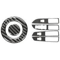 car engine start push button decoration trim carbon fiber with carbon fiber inner window switch panel cover trim