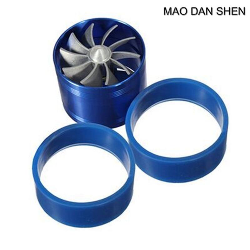Universal Supercharge Turbo Single Jet Blade Tornado Blue Eco Gas/Fuel Saver Fan Kit