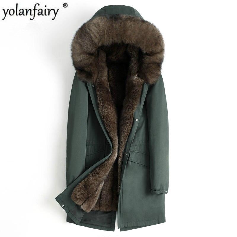 Abrigo de piel auténtica de invierno para hombre, Parka de piel Natural de zorro, ropa para hombre 2020, chactes cálidos de piel de lujo para hombre de talla grande 4555 MY1639