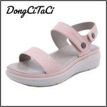 DongCiTaCi Southeast Asia Summer Casual Women Wedges Sandals Shoes Women Fashion Beach Flats Sandals