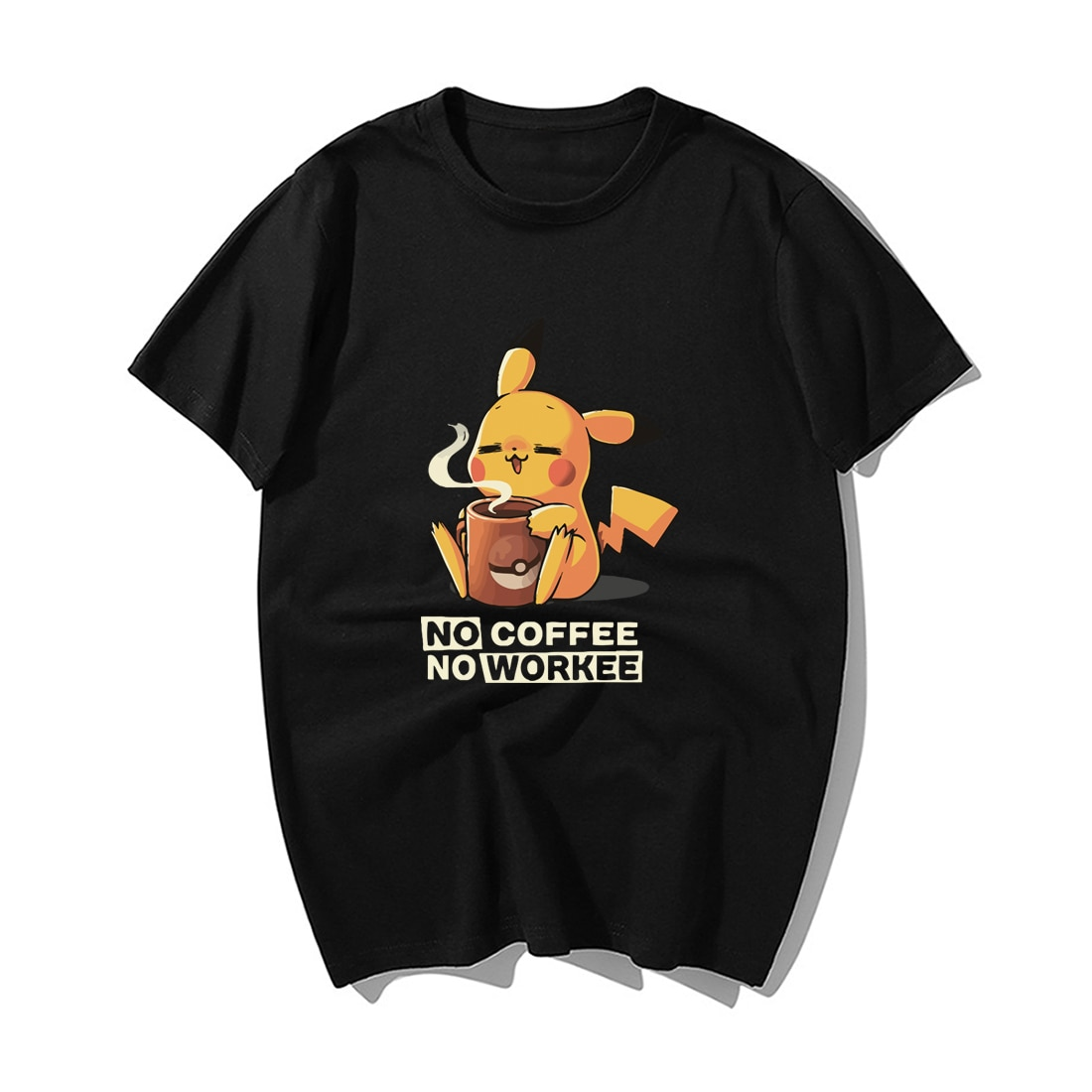 Funny No Coffee No Workee T Shirt Japanese Anime Pikachu Tshirt Men Summer Casual Cotton Shortsleeve Tshirts Harajuku Streetwear