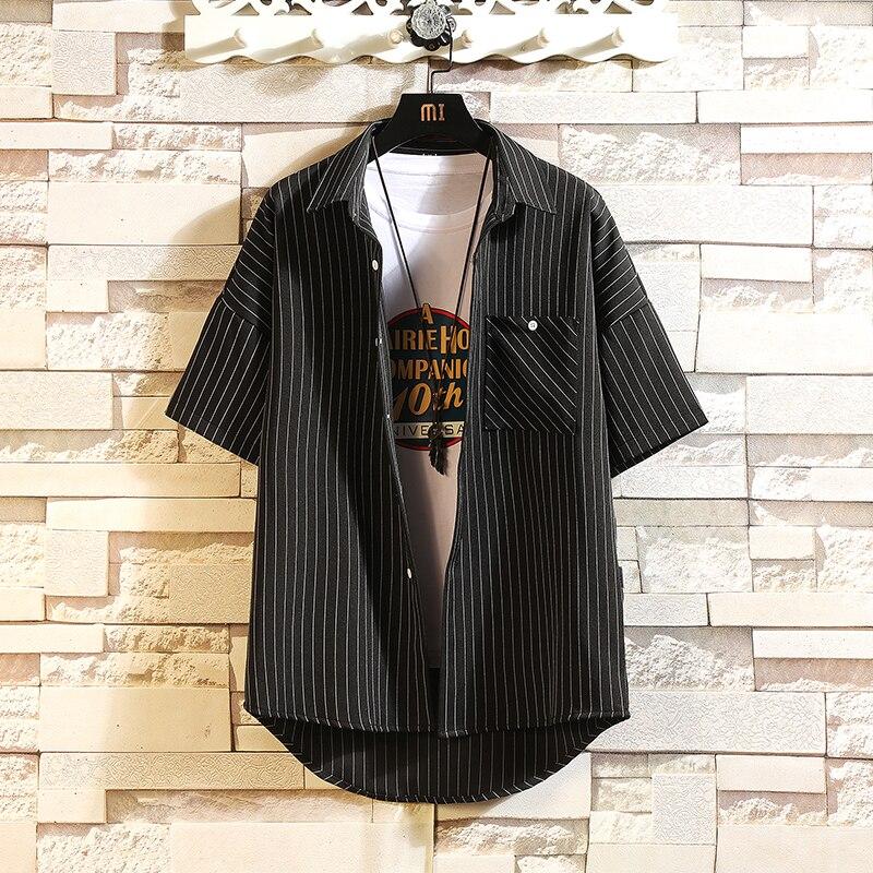 Camisa de playa negra para hombre,camisa de manga corta a la moda,suelta, informal, gran tamaño,M-4XL, hawaiana,5XL,verano 2021