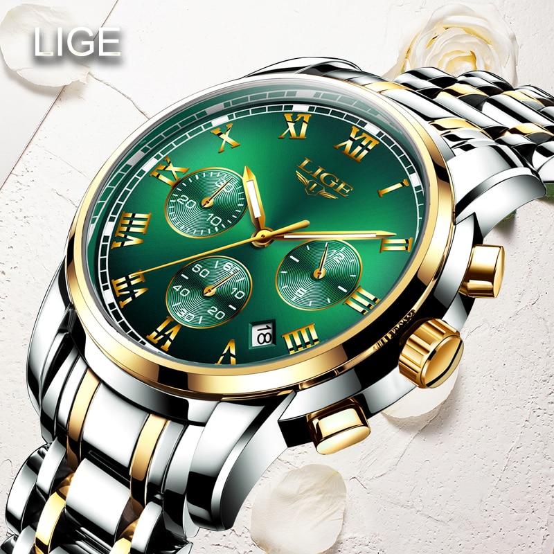LIGE 2021New Fashion Women Watches Ladies Top Brand luxury Waterproof Quartz Clocks Watch Women Stainless Steel Date Gift Clock enlarge