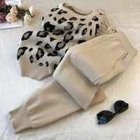 2020 autumn and winter new personalized leopard print pullover long sleeve knitwear simple small foot pants set