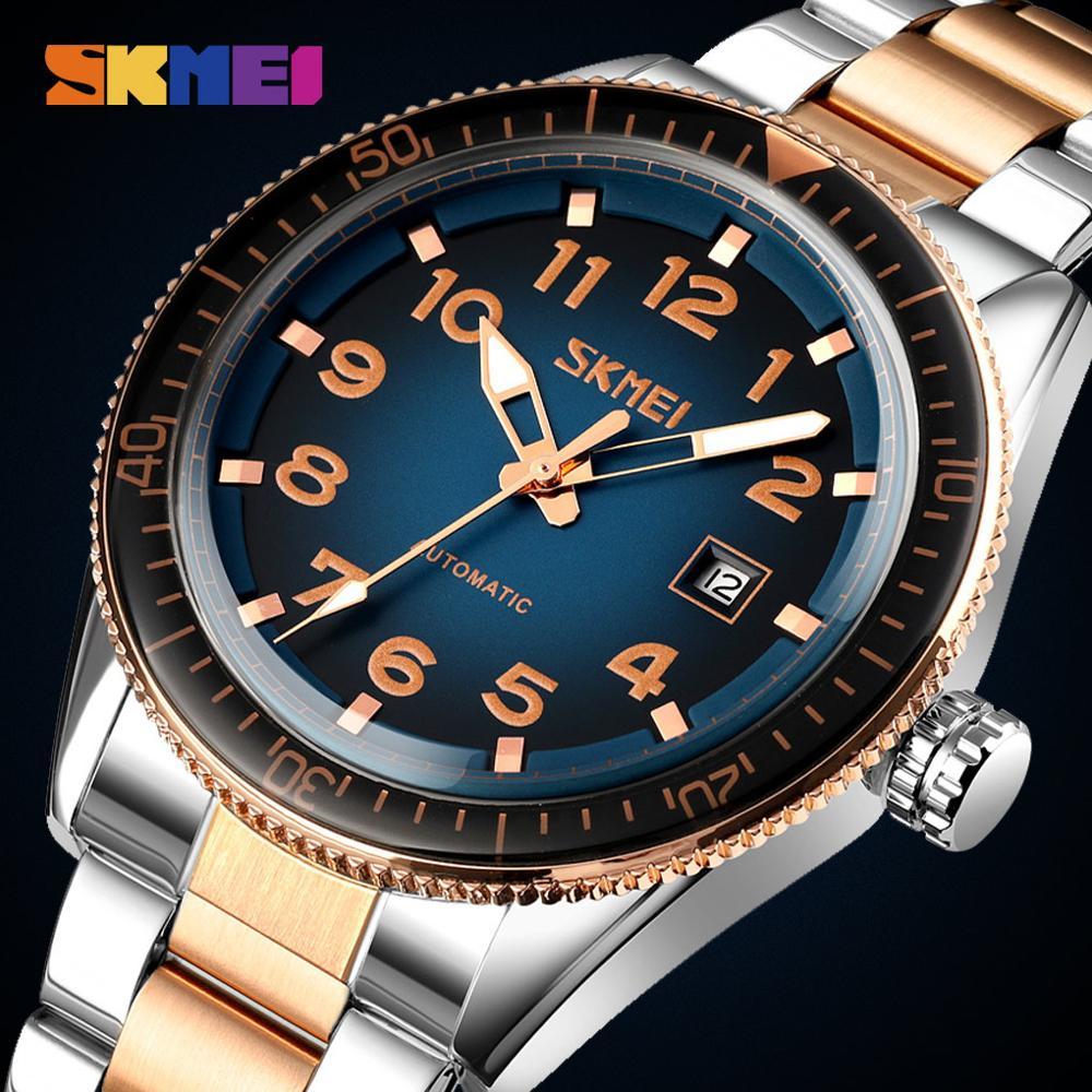 New Business Automatic Watch Men Mechanical Wristwatches Date Time Mens Luminous Waterproof Male Watch SKMEI Relogio Masculino