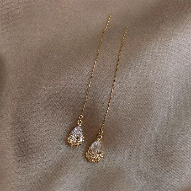 Korean Fashion Zircon Gold Long Pendant Earrings for Women Simple Temperament Crystal Statement Earr