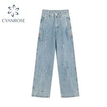 2021 New Autumn Fashion Streetwear Print Wash Straight Jeans Loose Vintage Casual Wide Leg High Wais