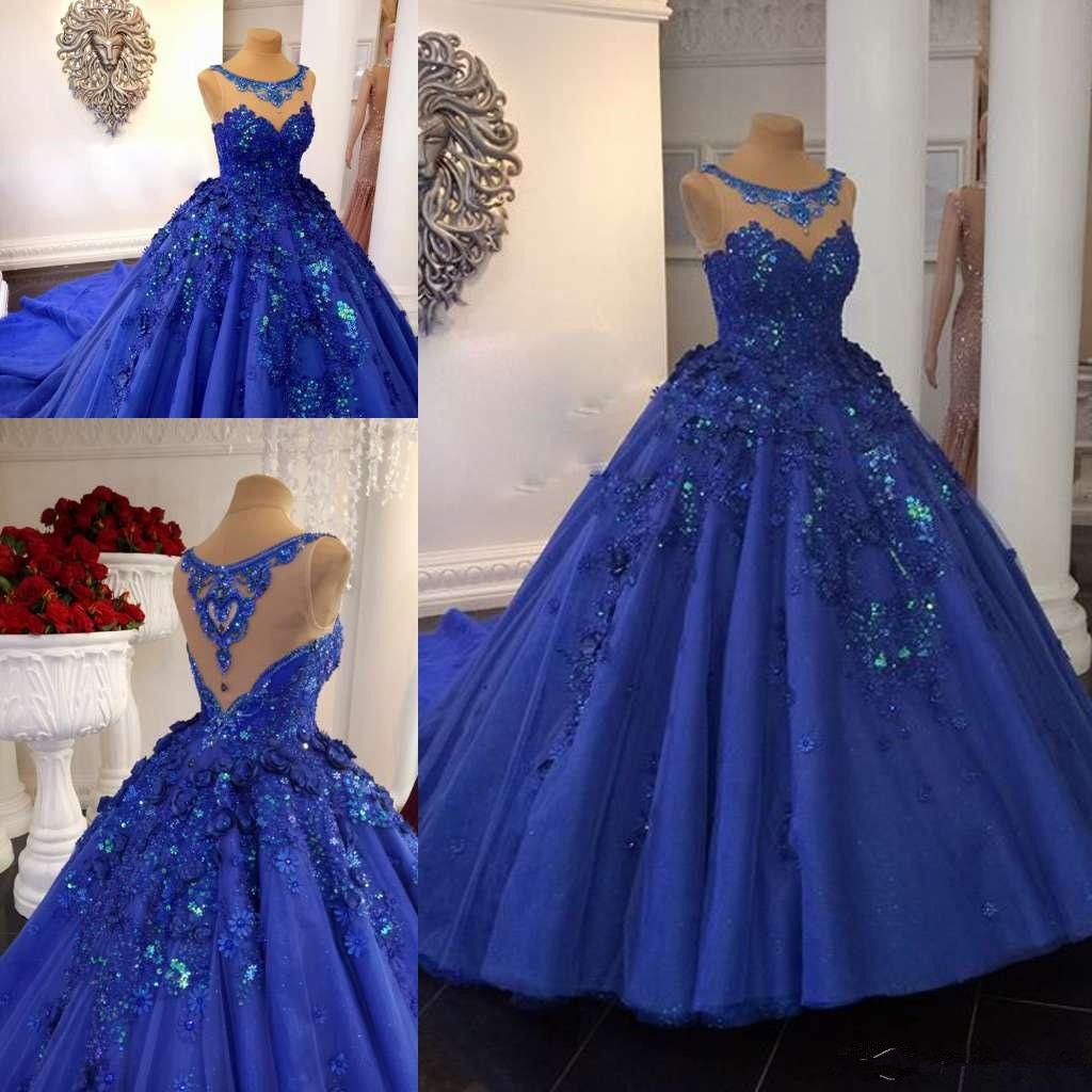 Royal Blue Ball Gown Prom Dresses 3D Floral Appliqued Lace Jewel Neck Evening Gowns Chapel Train For