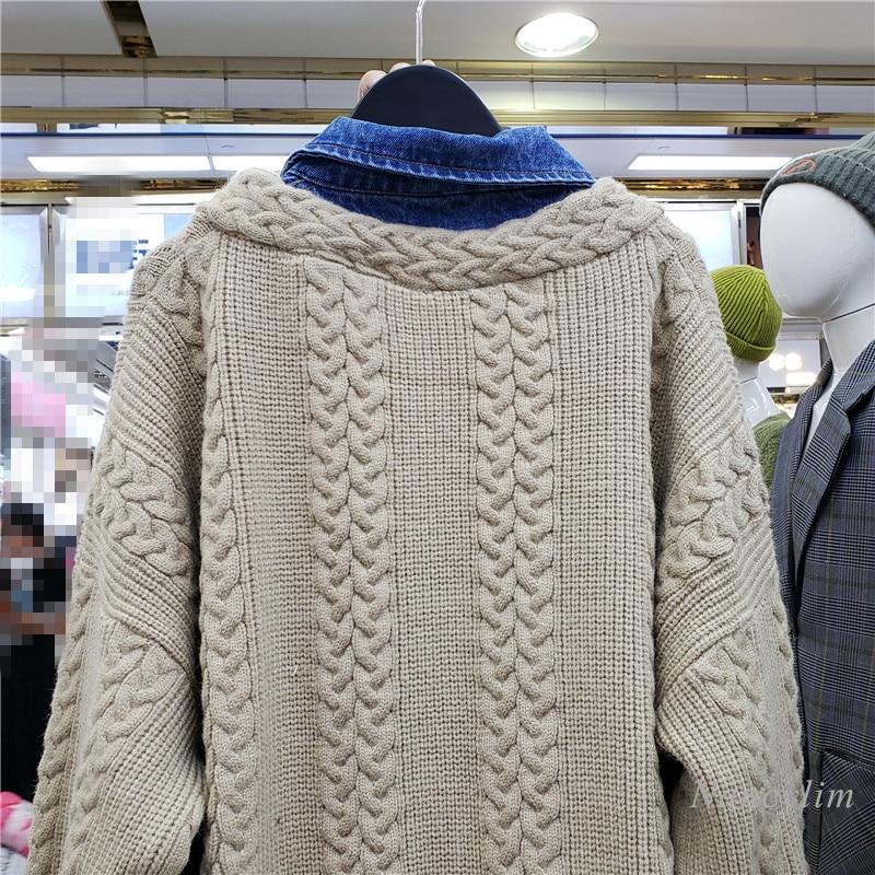 Oversized Cardigan Women Spring Autumn New Denim Stitching Fake Two-Piece Wool Sweater Coat Loose Knitwear enlarge