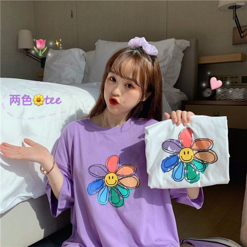 Graffiti Print Casual T Shirts Tee Tops Summer Korean Style Women Harajuku Flower Smile Print Streetwear Fashion Casual Tshirts