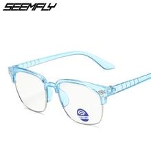 Seemfly Ultralight Square Half Frame Kids Glasses Fashion Retro Girls Boys Anti Blue Light Eyeglasse