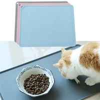 waterproof non slip pet mat for dog cat solid color silicone pet food mat pet bowl drinking water pad dog feeding mat easy clean