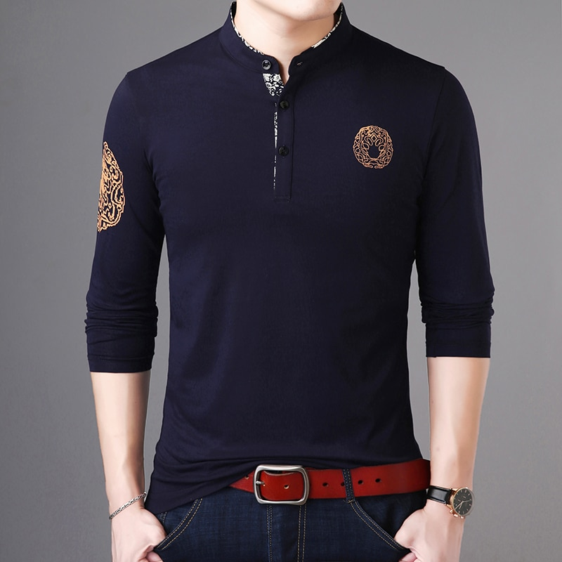 Light Luxury New Fashion Brand Polo Shirt Men's Stand-up Collar Trend Tops Street Wear Cotton Long-sleeved Men's Clothing