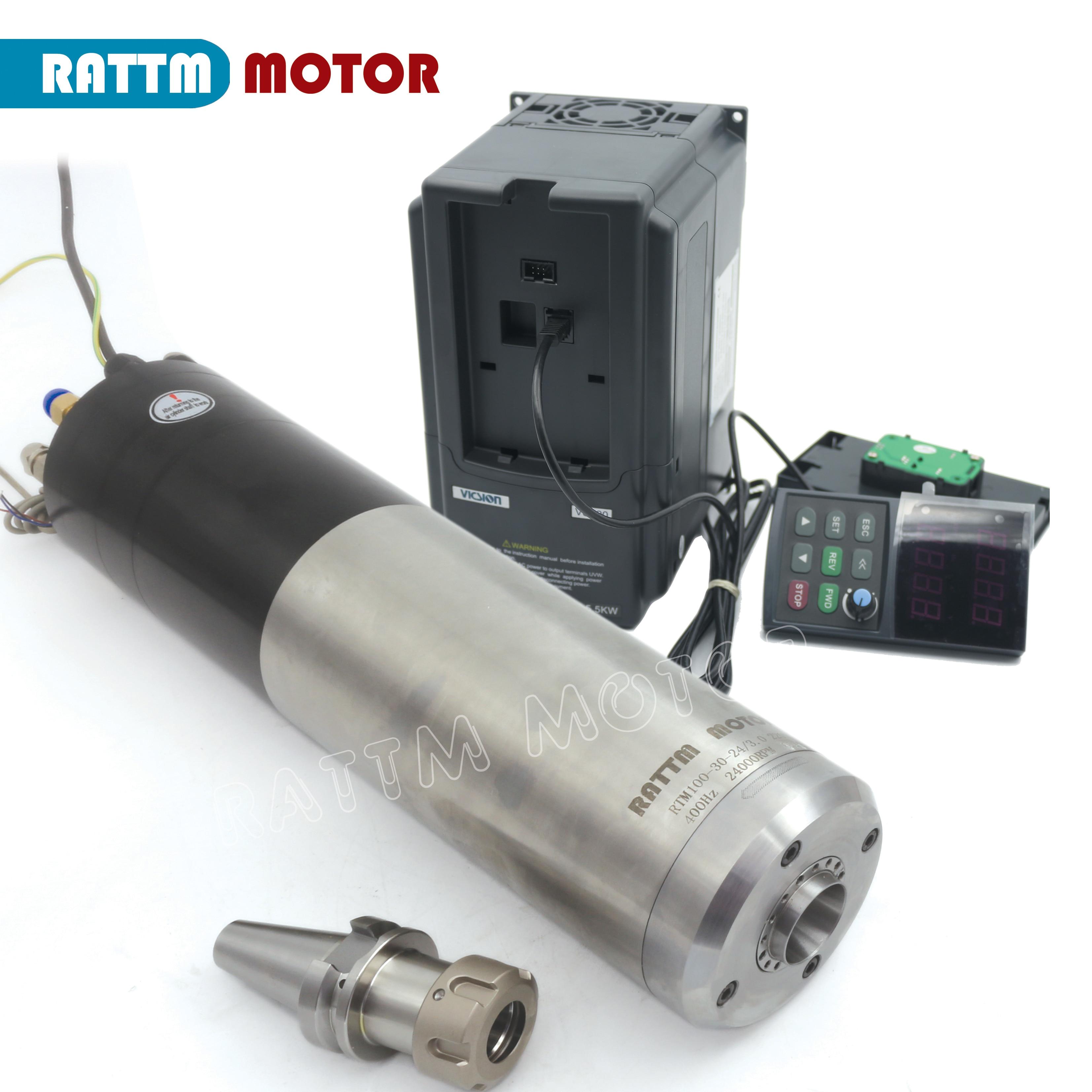 Автоматический электродвигатель привода шпинделя атс с водяным охлаждением 3 квт BT30 380 в и 3,7 квт VFD SUNFAR инвертор 380 в для фрезерного станка с ...