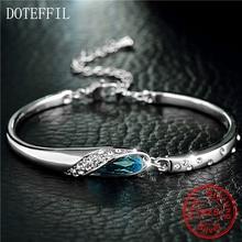 DOTEFFIL luxe Bracelet en argent 100% 925 argent Sterling breloque femme Bracelet AAAA Zircon bijoux