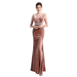 Evening Dresses V-Neck Pleat Beading Evening Dress Evening Gowns for Women Dresses Woman Party Night