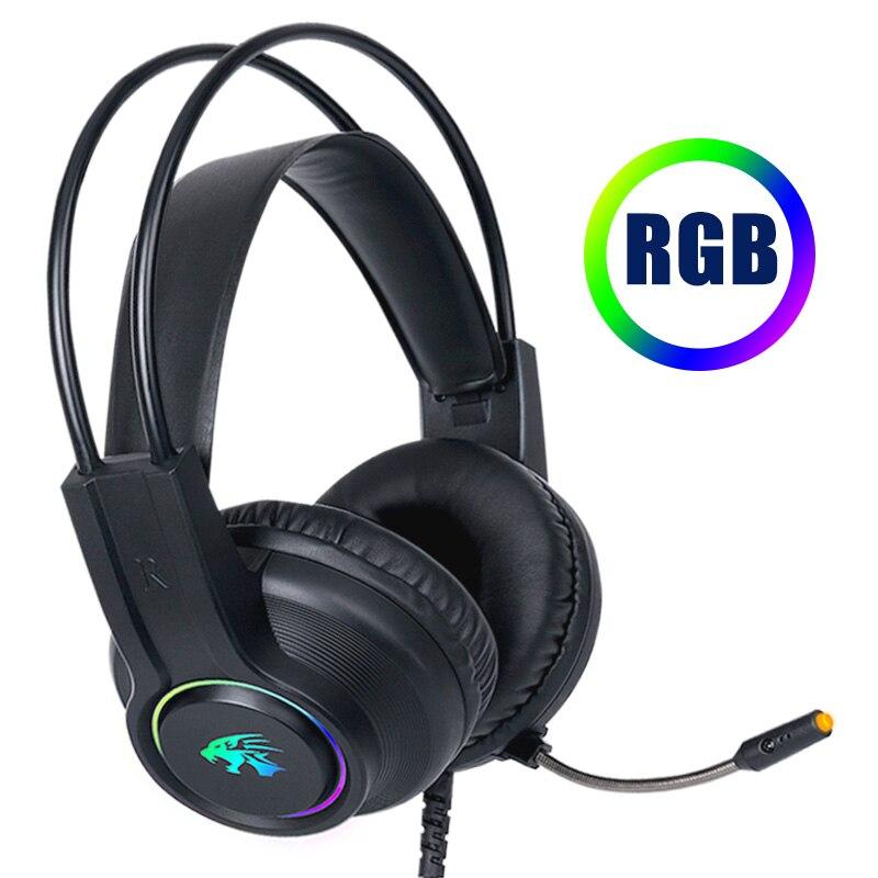 Auriculares Gaming ChonChow de 3,5mm con cable RGB Light PC audífonos estéreo auriculares con micrófono para ordenador Gamer PUBG auriculares