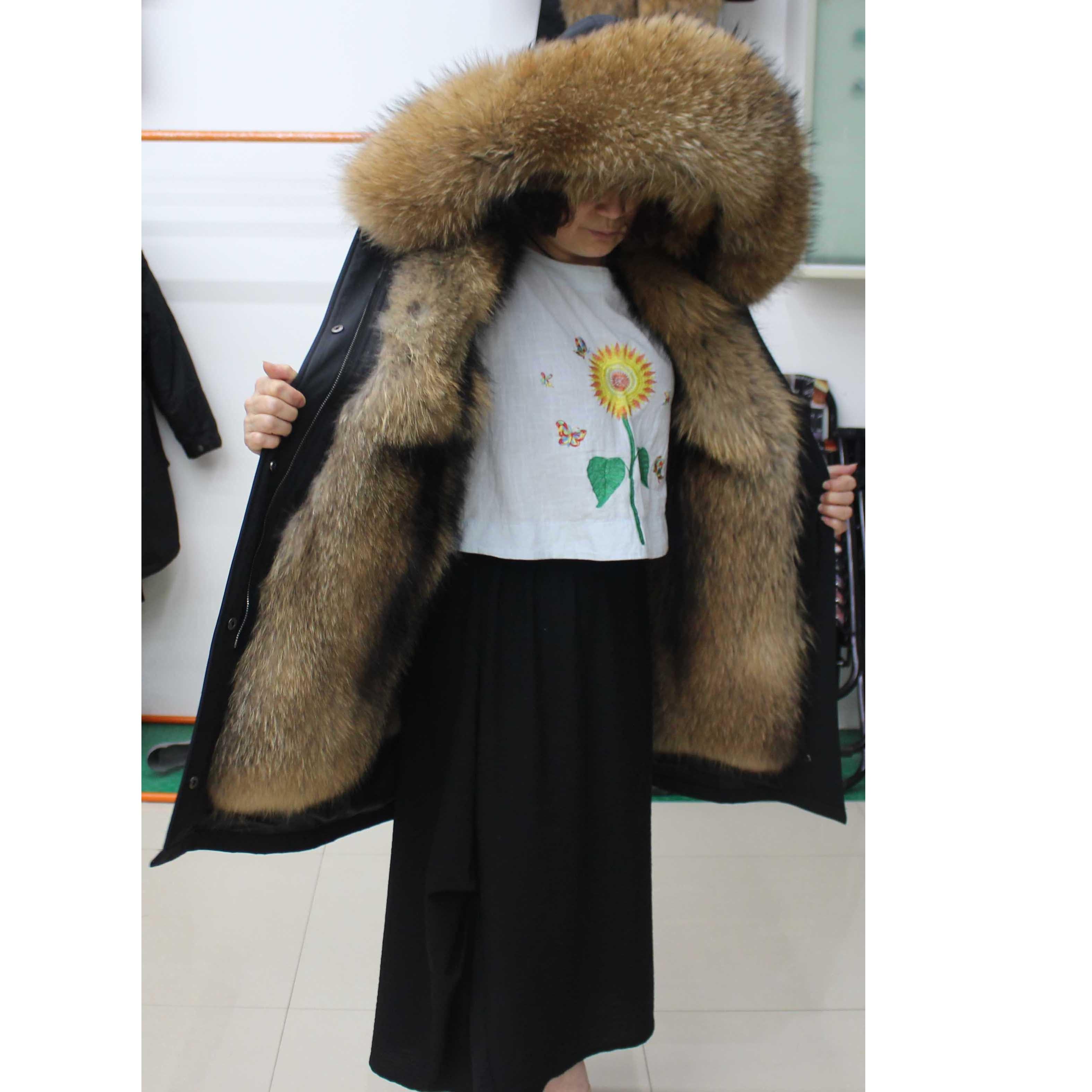 Linhaoshengyue Модный женский воротник из меха енота с капюшоном из меха енота Linink теплый